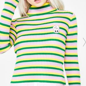 Lazy oaf bunny crop roll neck top in UK size